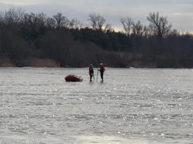 Boat 39-1 acting as RIT team for crews on the ice